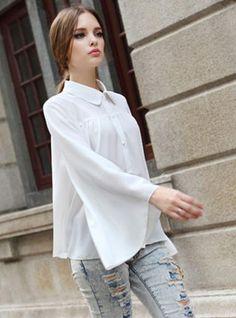 White Vintage Lapel Long Sleeve Chiffon Shirt