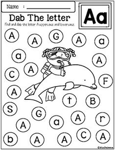 Free Alphabet Dab contains 26 pages of worksheets. This product is designed to help practice and recognize the alphabet letters. This set is perfect for Preschool and Kindergarten students. Printable Alphabet Worksheets, Free Kindergarten Worksheets, Phonics Worksheets, Kindergarten Writing, Matching Worksheets, Summer Worksheets, Kindergarten Assessment, Coloring Worksheets, Free Worksheets