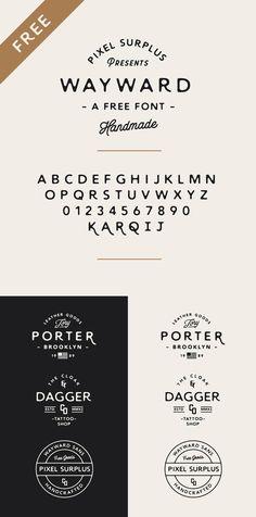 Wayward  Free Hand Drawn Typeface Free Fonts Free Graphic Design Hand-Drawn Resource Typeface Typography Vintage