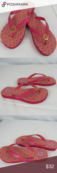 Tory Burch flip flops size 6 Pink and orange geometric shape flip flops. I consider these to be in lightly worn preowned condition, but please review the photos to determine color and condition. Tory Burch Shoes Sandals