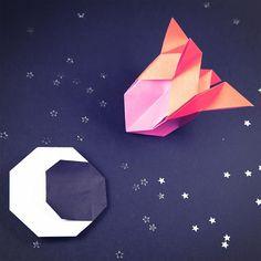 Origami Rocket  flying to the moon  tutorial: https://youtu.be/YEfK-xifwVA  #origami #rocket #spaceship #moon #origamimoon #origamirocket #paperfolding #paperkawaii #tutorial #paper #crafts #space
