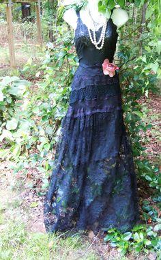 Black maxi dress lace  sheer silk  goth  boho  rose romantic medium  by vintage opulence on Etsy