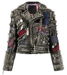 Punk Outfits, Cool Outfits, Punk Mode, Trendy Mens Fashion, 80s Punk Fashion, Rock Fashion, Street Fashion, Studded Leather Jacket, Leather Jacket Patches
