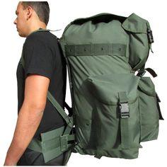 d082ad00b Mochila de Combate Grande Capacidade Exército Verde-oliva ou Preta com  Armação - Espaçosa e