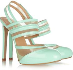 Love these pale aqua patent leather and Mesh pumps.