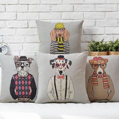 """Cartoon Animal Cool Dog Throw Pillow Case Decor Cushion Cover Square 17"""" Linen #Unbranded"""