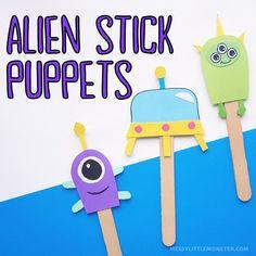 Alien stick puppets craft Drawing Activities, Craft Activities For Kids, Crafts For Kids, Activity Ideas, Puppet Crafts, Craft Stick Crafts, Easy Crafts, Alien Crafts, Puppets For Kids