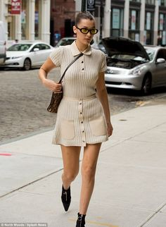 Leggy lady: Using the city streets as her own personal runway, the supermodel showed off h...