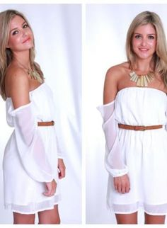 White Chiffon Off the Shoulder Dress with Sheer Sleeves,  Dress, off the shoulder  chiffon dress, Bohemian (Boho) / Hippie