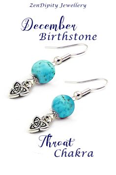 Dainty December Birthstone Earrings with a Celtic Knot. These Turquoise jewelry earrings with a Celtic Knot are lightweight and comfortable. Meaningful Gifts For Her, Meaningful Jewelry, Chakra Jewelry, Gemstone Jewelry, Healing Crystals For You, Throat Chakra, Celtic Knot, Birthstone Jewelry, Turquoise Earrings