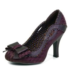 c9288b5e Ruby Shoo NEW ivy burgundy purple high heel bow court shoes UK sizes 3-9