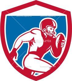 american, american football, artwork, ball, crest, football, graphics, gridiron, gridiron football, halfback, headgear, illustration, isolat...