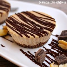 Guiltless Peanut Butter and Chocolate Cheesecake - Only 80 calories each with 8 grams of protein per cheesecake! Still has that great creamy deliciousness of regular cheesecake. Easy to make and a healthy / clean alternative. Pb2 Recipes, Flour Recipes, Healthy Dessert Recipes, Healthy Treats, No Bake Desserts, Delicious Desserts, Snack Recipes, Protein Recipes, Protein Desserts