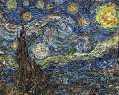 Starry night - Vinvent Van Gogh ...Famous Paintings Recreated Using Torn Magazine Pieces by Vik Muniz