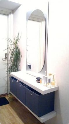 Use long Lack for vanity table - add mirror on top. 11 Ways to Use IKEA's Lack Shelves in Every Room of the House | Apartment Therapy
