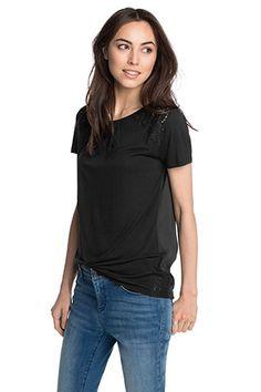 Esprit / T-shirt en mélange de matières et dentelle