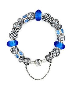 PANDORA Bracelet - Sterling Silver with Blue Charms | Bloomingdale's. Love the selection of patterns punctuated by blue