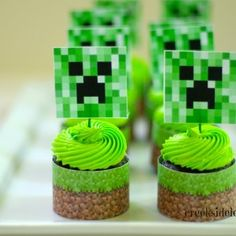 Minecraft Cupcakes-but make them square instead of round by baking a cake and cutting it into squares?