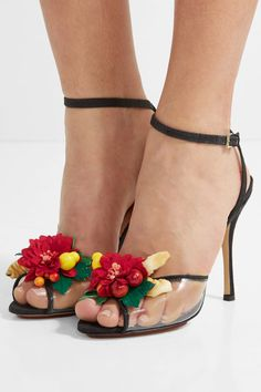 Charlotte Olympia - Tropicana Embellished Canvas And Pvc Sandals - Black - IT38.5