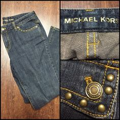 Michael Kors Embellished Stud Denim Jeans Michael Kors Embellished Stud Denim Jeans. Dark blue with bronze embellishments. Studs around pockets. Classic gold threading. Lightly used in great condition. Bottoms are intact. Size 8. (29 waist. 38.5 hips. According to size chart) my measurements were 34in waist 42In hips on jeans. Inseam is 32in. They do stretch. 99% Cotton 1% Spandex. Michael Kors Jeans