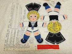 Vintage Printed Fabric Cut & Sew  GRETEL Cloth DOLLS 12""