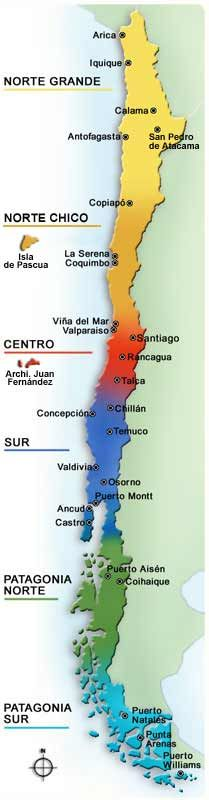 "Map of Chile  ...Easter Island is located below the word ""Norte""..."