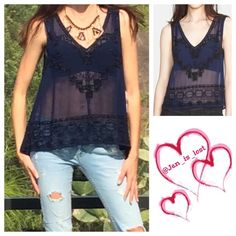 """Free People Beaded Tank Large Beaded details on this sheer v-neck tank with pleated back panel makes this top stand out! Dress up or dress down and you are insta-glam! 20 1/2"""" shortest length and 26 1/2"""" longest length.  100% polyester. Size is Large fit is true to size. No Trades ✅ Offers Considered*✅ *Please use the blue 'offer' button to submit an offer. Free People Tops"""