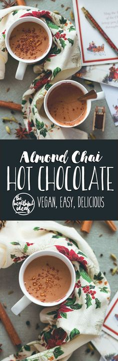 Almond Chai Hot Chocolate - incredibly creamy, delicious, and sweet. Almond milk, cacao, almond butter, tahini, homemade chai spice mix, sea salt, and maple syrup. So yummy! You'll love this hot chocolate, it's so easy to make. (vegan, GF) | http://thehealthfulideas.com