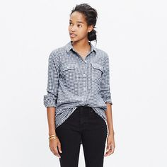 Flannel Ex-Boyfriend Shirt in Gingham Check : boyshirts Wardrobe Basics, Capsule Wardrobe, Gingham Shirt, Gingham Check, Boyfriend Shirt, How To Roll Sleeves, Chambray, Madewell, Flannel