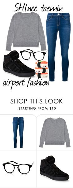 """SHInee taemin airport fashion"" by chibitanthepandalover ❤ liked on Polyvore featuring Frame Denim, Uniqlo and adidas"