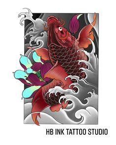 Dragon Koi Fish, Koi Dragon Tattoo, Koi Tattoo Design, Japan Tattoo Design, Japanese Koi Fish Tattoo, Japanese Tattoo Designs, Koi Tattoo Sleeve, Samurai Warrior Tattoo, Koi Fish Designs