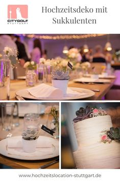 Moderne, romantische Tischdekoration im Green Wedding Style mit Sukkulenten Table Decorations, Modern, Home Decor, Hot Pink Flowers, Succulents, Table, Decorations, Trendy Tree, Room Decor