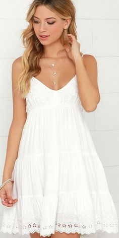 The Weightless Wonder Ivory Embroidered Dress will have you feeling light as a feather on those warm-weather days! Cute cotton dress with ivory embroidery. Grad Dresses, Cute Dresses, Casual Dresses, White Graduation Dresses, Winter Dresses, Dresses Dresses, Formal Dresses, White Sundress, White Dress Summer