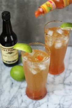 Michelada   A Mexican beer cocktail that is full of lime juice and spices. A Michelada is a refreshing and addicting way to enjoy a beer!