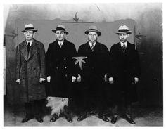 (left to right) Eddie Diamond, Jack 'Legs' Diamond, Thomas 'Fatty' Walsh, Charlie 'Lucky' Luciano