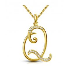 Kataria Jewellers Letter Q Gold Plated 92.5 Sterling Silver and Swarovski… Alphabet  Necklace 8821cca3285