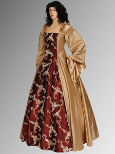 Renaissance Style Dress Handmade from Embroidered Taffeta, 2 Colors, Multiple Colors Available on Etsy.