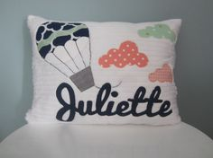 Float Away with a Hot Air Balloon Pillow for a Special Person!  Soft white chenille fabric will be the background for a hot air balloon applique