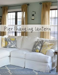 Pier 1 hanging lantern in a living room