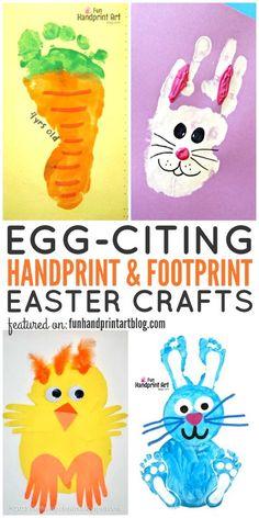 Handprint and Footprint Easter Crafts - HUGE LIST! - Fun Handprint Art - - Huge List of Handprint and Footprint Easter Crafts to make with kids including bunnies, chicks, eggs, card idea, fingerprint art & more! Easter Crafts To Make, Easter Crafts For Toddlers, Bunny Crafts, Easter Crafts For Kids, Easter Decor, Easter Table, Children Crafts, Easter With Kids, Art Projects For Toddlers
