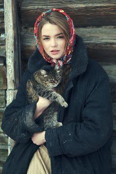 Svetlana and her cat by Denis Kolucci