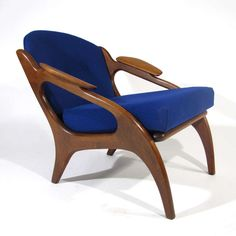 Adrian Pearsall; #2249-C Walnut  Lounge Chairs for Craft Associates.