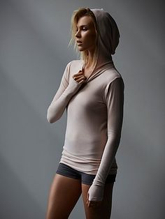 Hooded Layering Tee | American made super soft, seamless long sleeve hooded activewear tee with stretch. Perfect for layering.     *By FP Movement  *FP Movement is an entirely new activewear collection, designed to nourish your mind, body, and free spirit.
