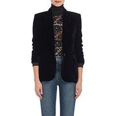 L'Agence Women's Chamberlain Velvet Blazer (35.730 RUB) ❤ liked on Polyvore featuring outerwear, jackets, blazers, black, one button peaked lapel blazer, peaked lapel blazer, slim blazer jacket, cocktail jackets and slim fit one button blazer