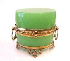 round French 19th Century green opaline antique glass casket with pretty ormolu mounts.
