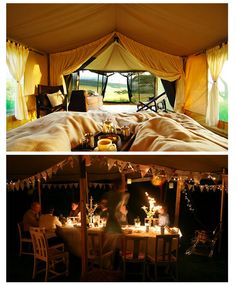 """""""Glamping"""" - camping in big canvas tents with luxurious bedding and comforts Best Tents For Camping, Camping Glamping, Luxury Camping, Camping Ideas, Canvas Tent, Big Canvas, Tent Platform, A Frame Tent, Wall Tent"""
