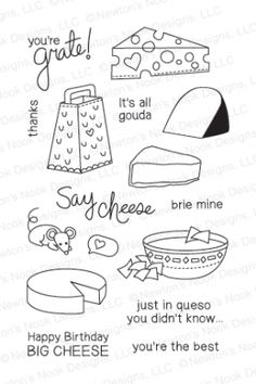 Just Say Cheese. 4x6 photopolymer stamp set by Newton's Nook Designs. Made in the USA!