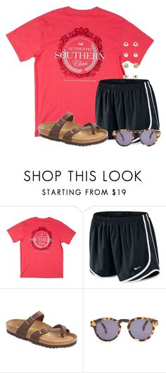 """""""Really bored"""" by flroasburn ❤ liked on Polyvore featuring NIKE, Birkenstock, Illesteva and Forever 21"""