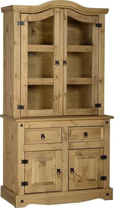 Corona Mexican Pine Buffet Hutch Glass Door Display Unit Free Next Day Delivery   eBay