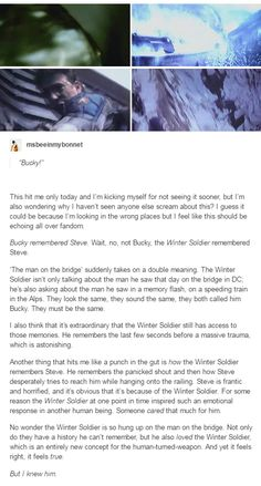 Whoa. Okay. Yeah. That sound? Just my heart breaking. I'm totally fine. Totally. Buck/Winter Soldier